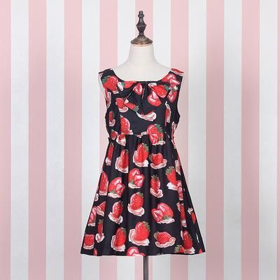 Japanese Harajuku Strawberry Bow Sleeveless Dress SD02296
