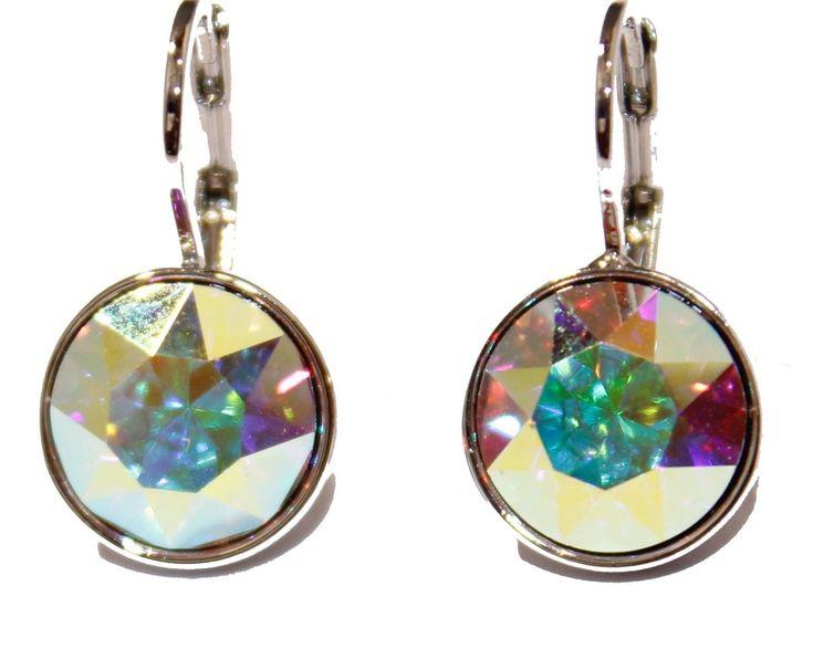 Swarovski Elements Aurora Borealis Bella Earrings Silver Plated Dangle