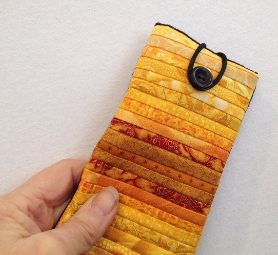 Yellow eyeglass case. Quilted soft case. Sunglass by AnnBrauer