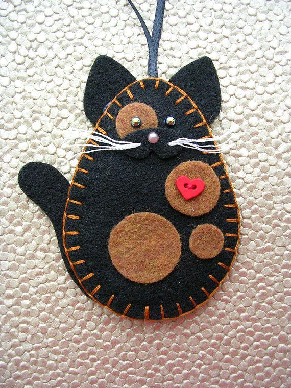 Cat Ornament Felt Cat Ornament Tortoiseshell Cat Tortie Cat