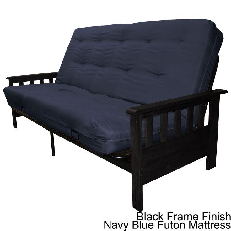 Epic Provo Queen-size Mission-style Frame/ Mattress Futon Set (Black Frame Finish with Navy Blue Queen Futon Mattress)