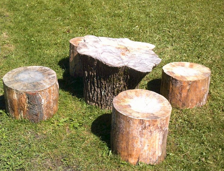 Educare (Johnstown)- A table and chairs in this yard are made from an overturned stump and logs.