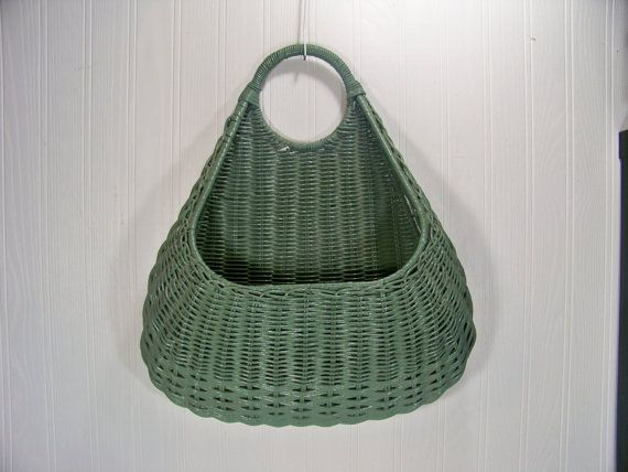 Vintage Wicker Wall Basket Hanging Door Basket by SmakBoutique