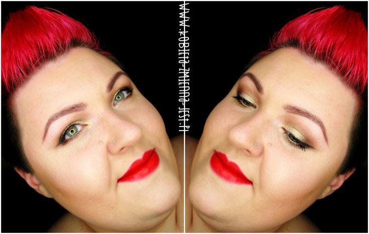 makijaż makeup eyes neutral makijaż dzienny brąz złoto red lips inglot makeup revolution blog makeupblogger face gold brown