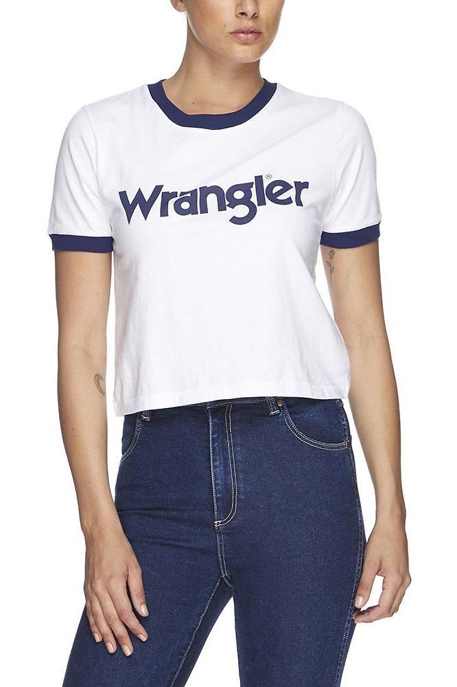 wrangler - Crop Ringer Tee - White/Navy