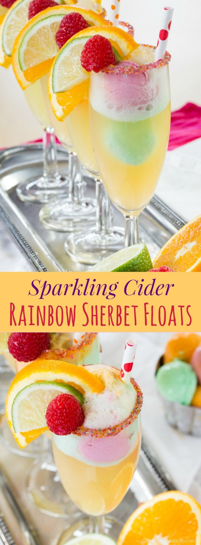Sparkling Cider Rainbow Sherbet Floats - a fun mocktail or dessert the kids will love for Valentine's Day, St. Patrick's Day, or a special birthday