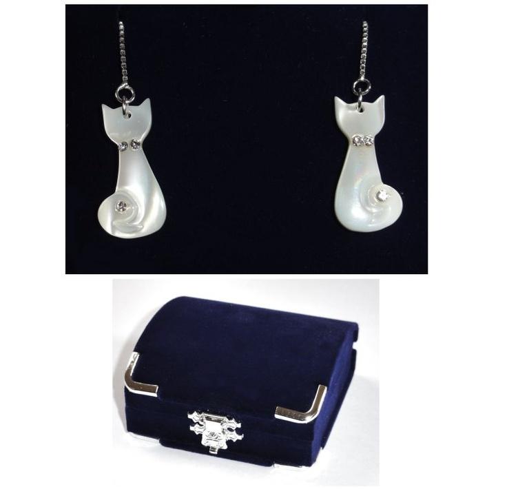 Mother Of Pearl Cat Earrings  £12.99