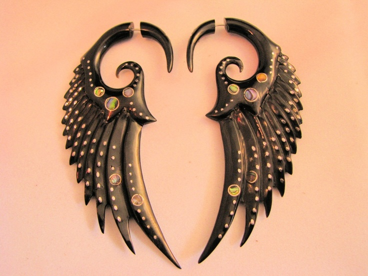 Faux gauges - sterling silver, abalone, horn Wings of Glory earrings