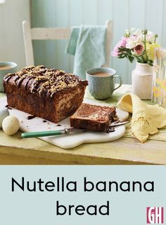 A glorious combination of Nutella and bananas - a slice of this loaf is perfect with a cup of tea. A decoration of scattered, roasted hazelnuts finishes it of perfectly.