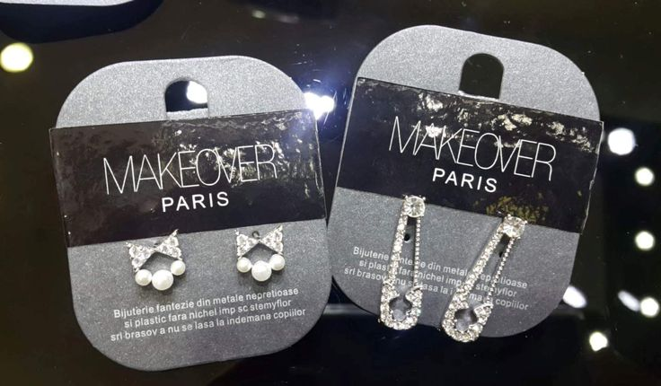 Short bow earrings and and safety pin earrings.Makeover Paris, produse, cosmetice, bijuterii. #jewelry #jewels #fashion #gems #accessories #beautiful #stylish