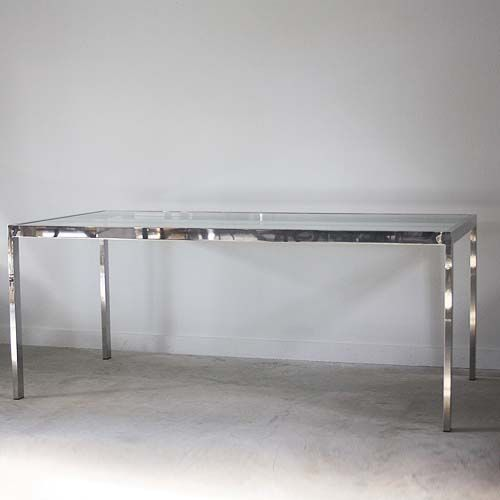 Chrome Midcentury Dining Table With Glass Top 295H X 72L 36