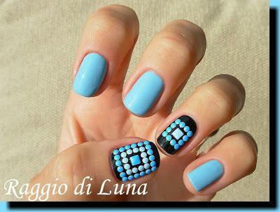 Blue square neon nail art stud squares