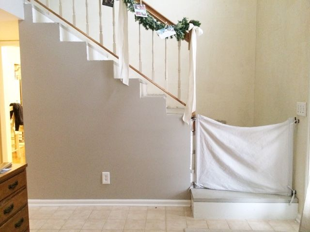 DIY fabric baby gate for stairs that don't accommodate a standard gate.