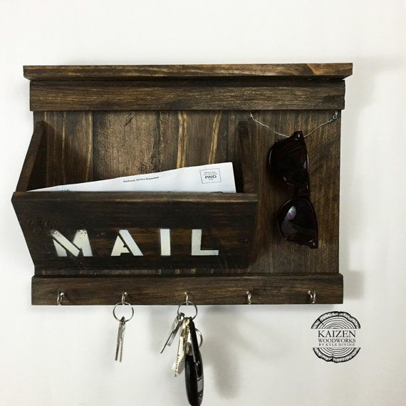 """Rustic Entryway Organizer - Mail / Keys / Sunglasses holder made from reclaimed pallet wood 11.5""""x15.5"""""""