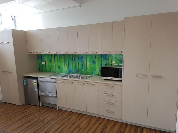 No boring #office #kitchens for these #Melbourne workers - thanks to our custom #printed #acrylicsplashbacks.