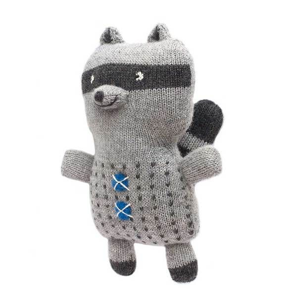Pepe the raccoon by Fournier. Hand knit in baby alpaca.