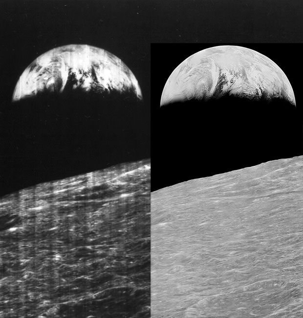 First image of the Earth from the moon. Lunar Orbiter Image Recovery Project (LOIRP) version on right is so crisp!