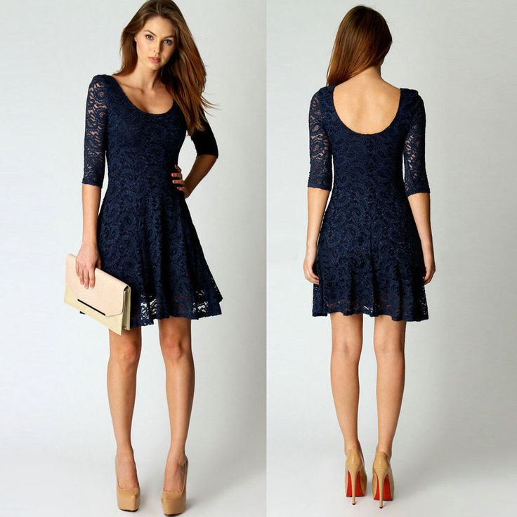 Fashion Women Summer Lace Long Sleeve Party Evening Cocktail Short Mini Dress #Unbranded #BallGown #Cocktail
