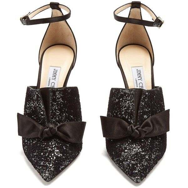 Jimmy Choo Temple glitter-embellished satin heels (43,750 DOP) ❤ liked on Polyvore featuring shoes, pumps, black ankle strap pumps, black pointed toe pumps, black shoes, black evening shoes and black evening pumps