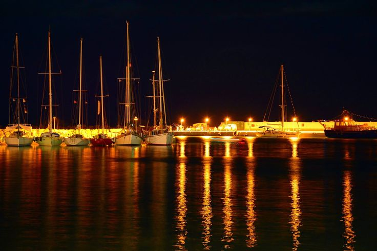 Ormos Marathokampou village. Our port at night... Samos island...