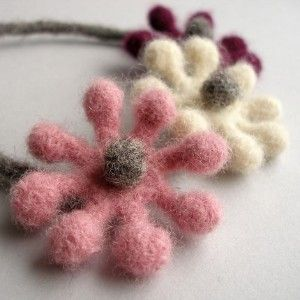 Woolly Bobble Flower Choker Necklace - purple,...