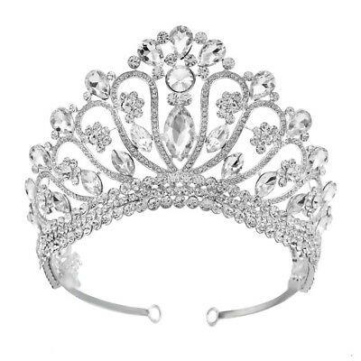 (eBay Ad) 10cm High Large Flower Drip Crytal Wedding Bridal Party Pageant Prom Tiara Crown