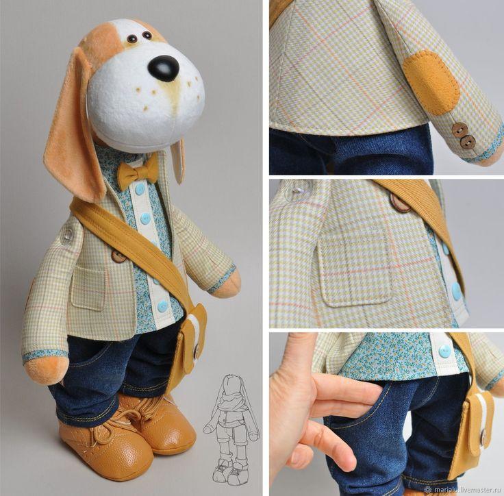 Бигль. Текстильная собака – купить или заказать в интернет-магазине на Ярмарке Мастеров | Собака породы Бигль сшита из плюша. Нос из кожи.