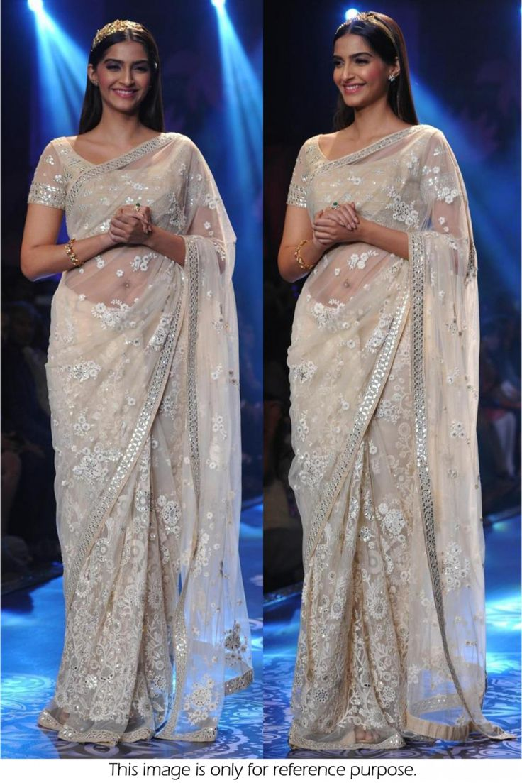 Bollywood Style Sonam Kapoor Net Saree In Off White Colour NC767