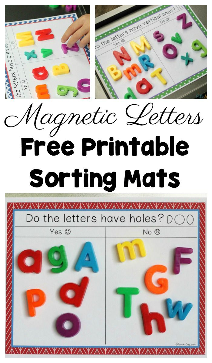 Sorting Magnetic Letters with Free Printable Sorting Mats #PreK #Preschool #ECE #Kindergarten #Alphabet #ABC #EarlyLiteracy #Letters #FunADay #MagneticLetters #PreschoolTeachers