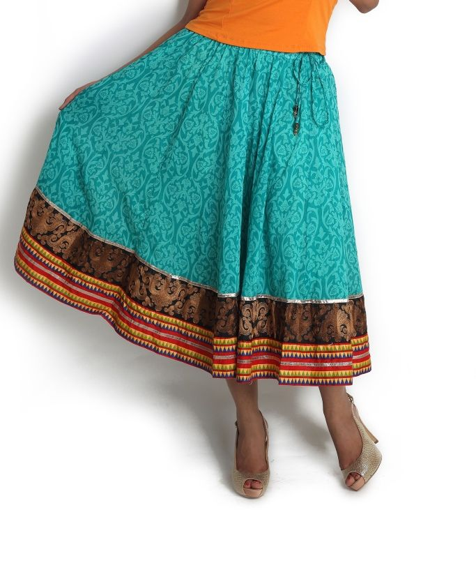 Green flared skirt with embroidery detail | Globus Stores Pvt. Ltd.