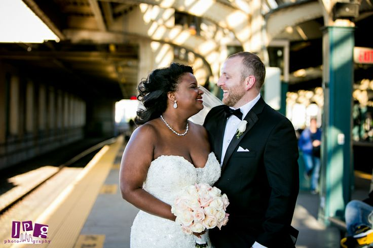 vintage bride and groom in a modern setting-  30 th street station weddings
