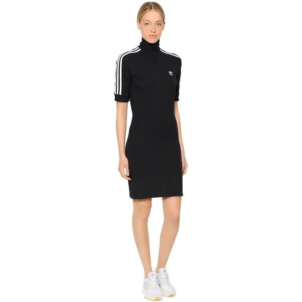 Adidas Originals Women 3 Stripes French Terry Dress ($57) ❤ liked on Polyvore featuring dresses, black, logo dress, french terry dress, elbow sleeve dress, half sleeve dresses and striped fitted dress