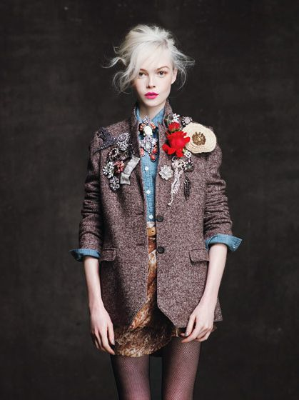 : Flowers Pin, Inspiration, Tweed Jackets, Style, J Crew, Pink Lips, Vintage Brooches, Blazers, Jcrew
