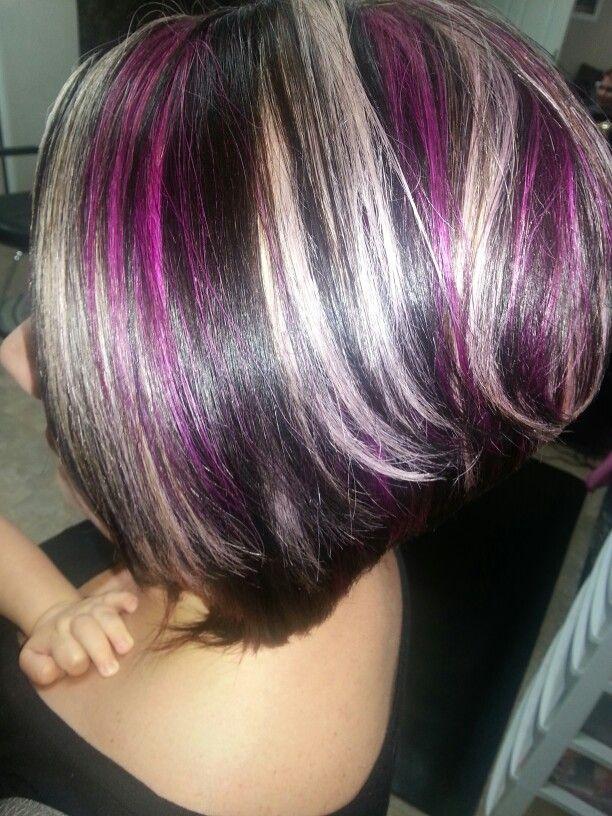 Dark brown with platinum &wild orchid highlights.   Hair ...
