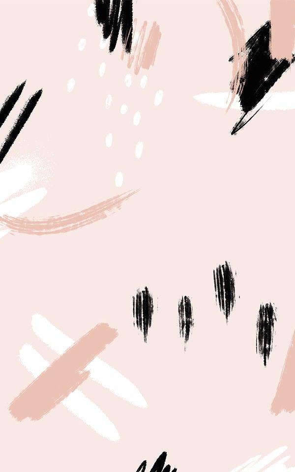 Peach Abstract Wallpaper Black Brush Stroke Design Muralswallpaper Abstract Wallpaper Mural Wallpaper Trendy Wallpaper