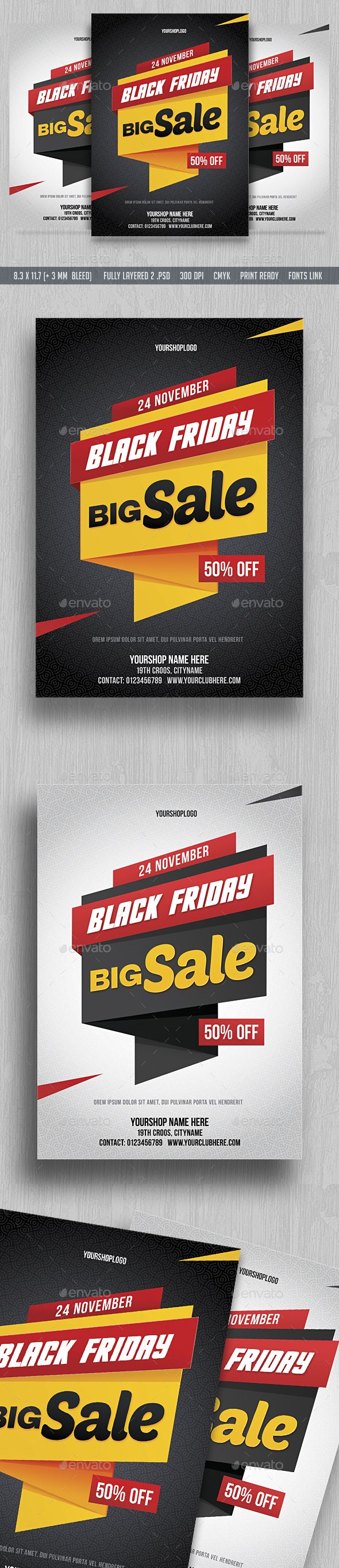 Black Friday Sale Flyer  — PSD Template #friday #discount • Download ➝ https://graphicriver.net/item/black-friday-sale-flyer/18522033?ref=pxcr