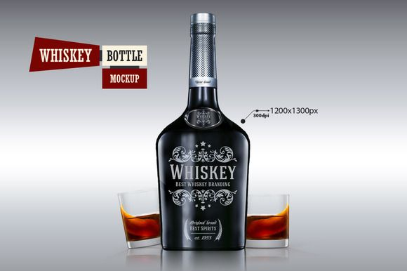 Whiskey Bottle - Mockup by VectorMedia on @creativemarket