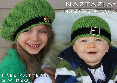 Irish Inspired Beret & Beanie Hat Tam - Crochet Me -- So dang cute!  Why don't I have grand kids!