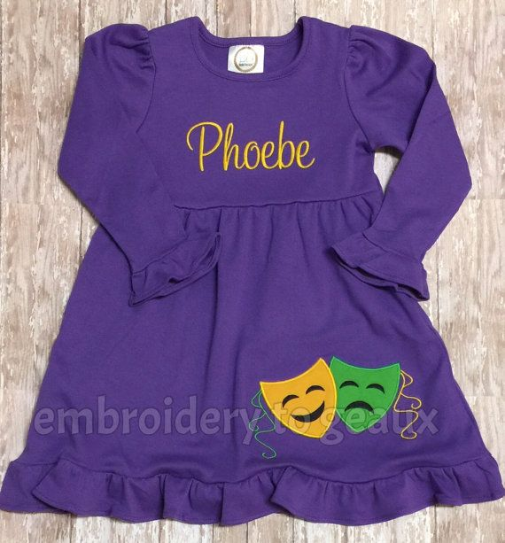 Personalized Girl's Mardi Gras Mask Ruffle by EmbroiderytoGeaux