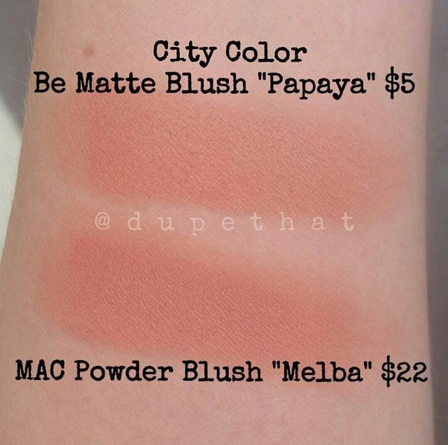 Dupe MAC Blush in Melba, and City Color matte blush in Papaya.  For more dupes checkout www.dupethat.com