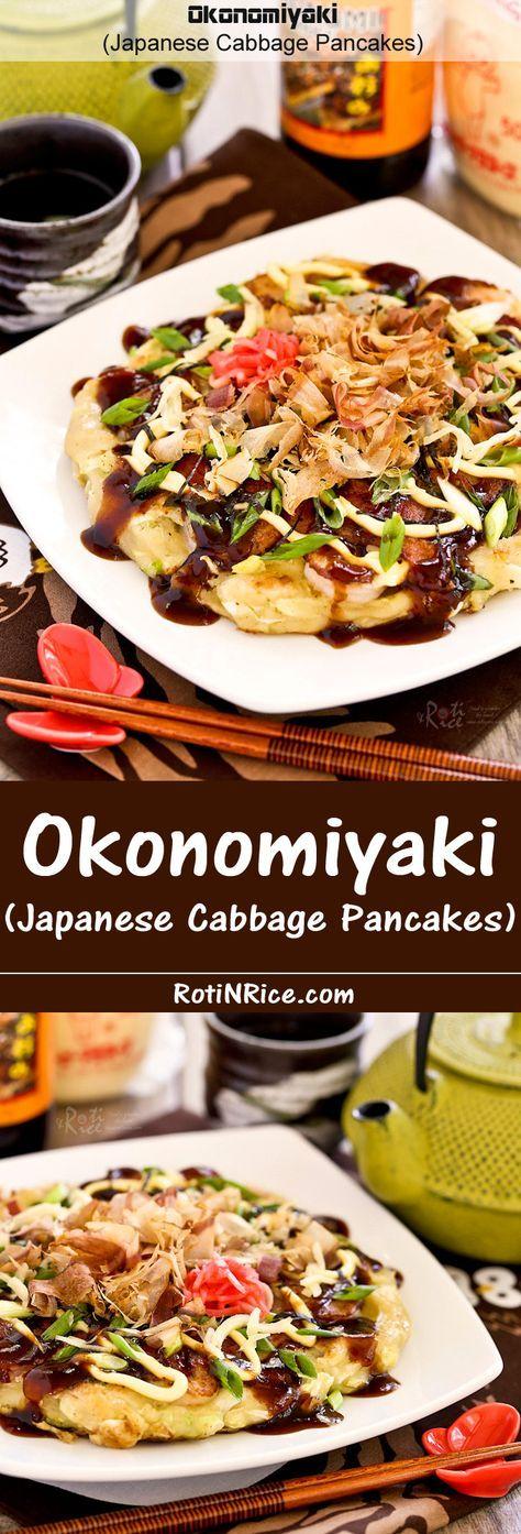 Okonomiyaki, savory Japanese Cabbage Pancakes topped with shrimps, bacon, and a variety of sprinkles. Delicious slathered with mayonnaise and okonomiyaki sauce. | RotiNRice.com