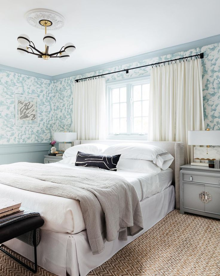 Best Dreamy Bedroom With Pale Blue Wallpaper White Bedding And 400 x 300