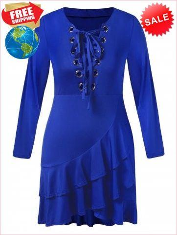 c38cbf200b3 Best Prices Plus Size Lace Up Flounced Midi Dress 4981558  mrZTnjIOCzb2yQXuo7ep Cheap Sale  RoseGal.com