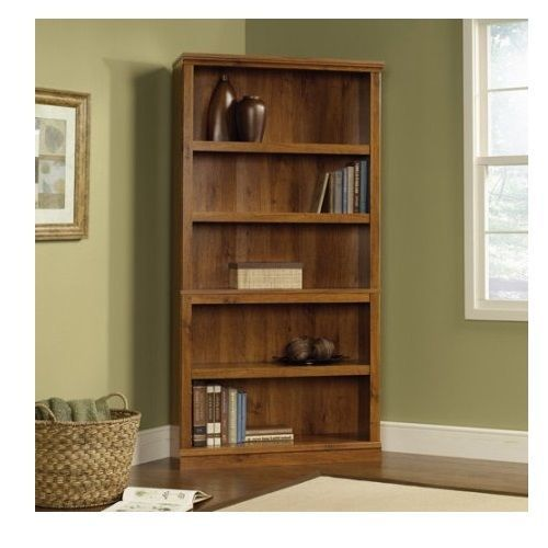 Adjustable Wood Bookcase Oak Bookshelves Display Storage 5 Shelves Office Den…