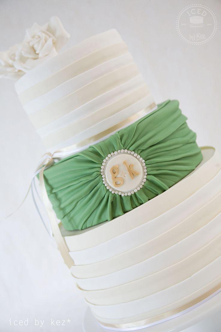 White, Ivory, Green & Gold Wedding Cake - made for DIY Weddings Magazine.  kez* x