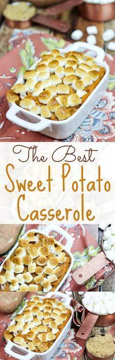 The Best Sweet Potato Casserole with marshmallows recipe! My Mom's easy, simple famous family recipe! This is the real deal with brown sugar, butter and without nuts! The best comfort foods for dinners and the perfect addition to Thanksgiving dinner. A great holiday, fall or Thanksgiving sides. | Running in a Skirt