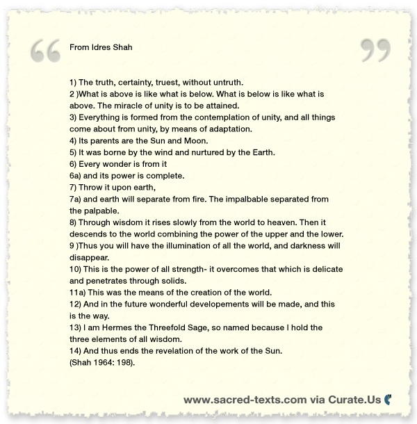 Emerald Tablet of Hermes Interpretations Clipped from www.sacred-texts.com