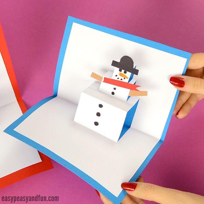 Snowman Pop Up Card Christmas Cards Kids Pop Up Christmas Cards Diy Christmas Cards