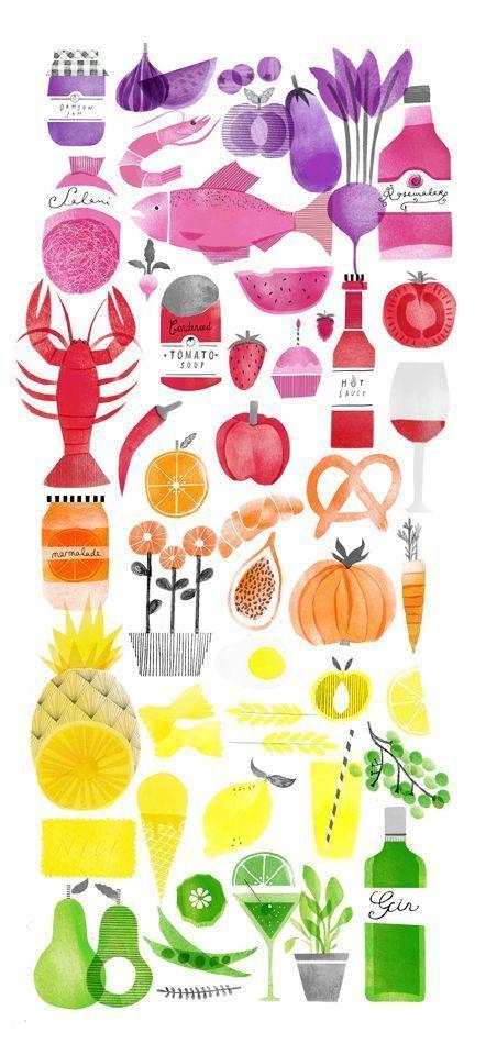 Food Spectrum - artist Naomi Elliott (442×960) colorful, rainbow, watercolor art illustration