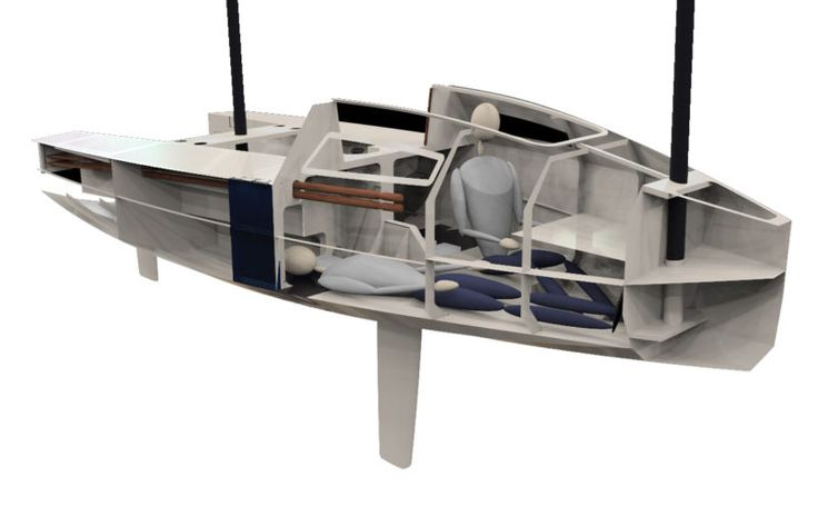 The cabin can sleep two. Note that the oar handles extend into the cabin.